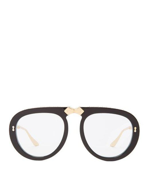 Lyst - Gucci Round-frame Foldable Sunglasses in Black