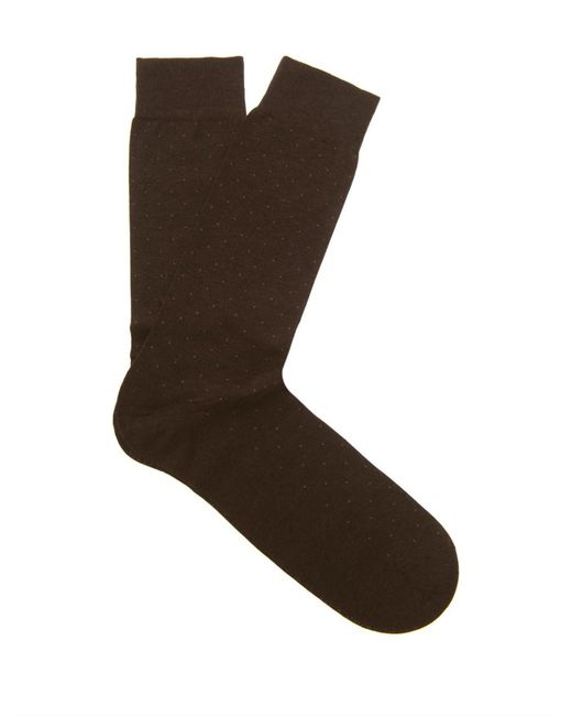 Pantherella - Brown Gadsbury Pin-dot Socks for Men - Lyst