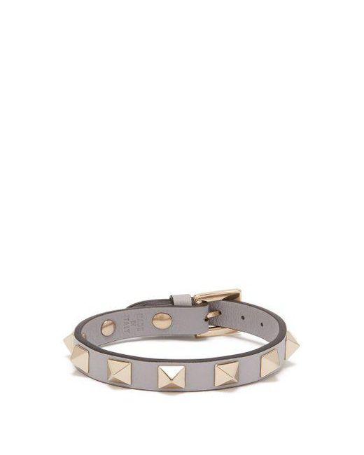 Valentino - Multicolor - Rockstud Leather Bracelet - Womens - Grey - Lyst