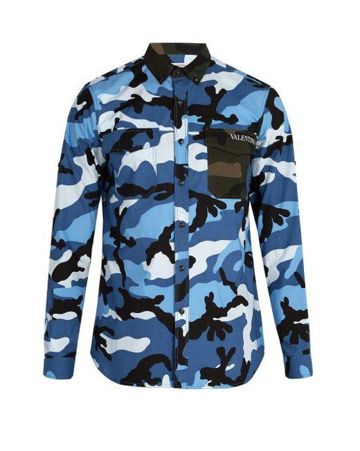 Valentino - Blue Camouflage Cotton Shirt for Men - Lyst