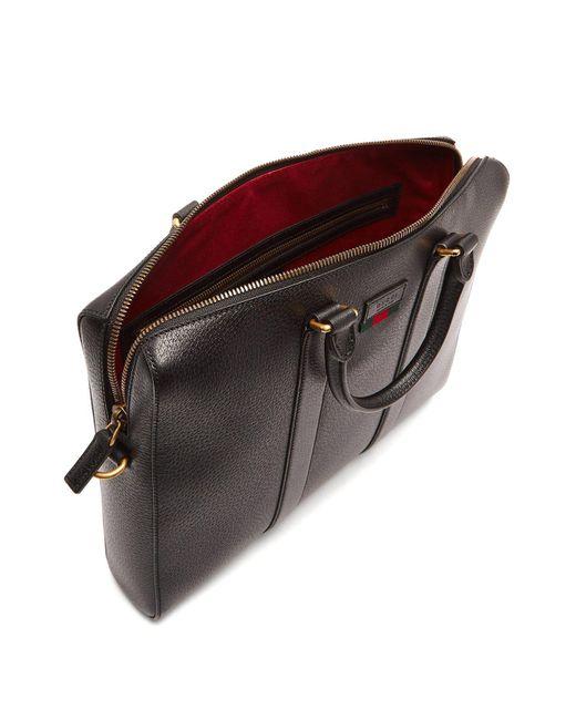 12802f9eb796 ... Gucci - Black Web Stripe Leather Briefcase for Men - Lyst ...