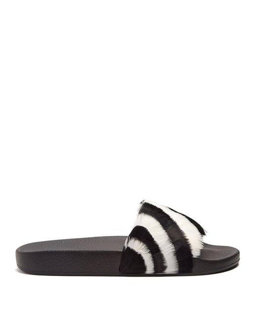 Valentino - Black Striped Feather Embellished Slides - Lyst