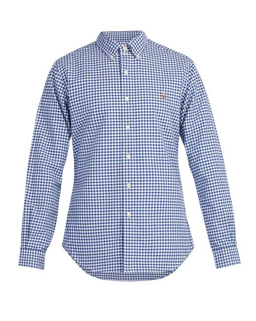 68ab1f9ecd6 Polo Ralph Lauren - Blue Logo Embroidered Gingham Cotton Shirt for Men -  Lyst ...