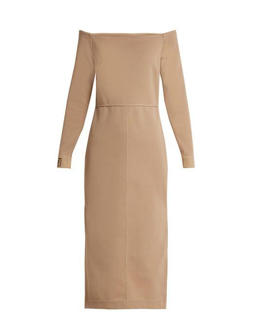 Fendi - Natural Off The Shoulder Midi Dress - Lyst