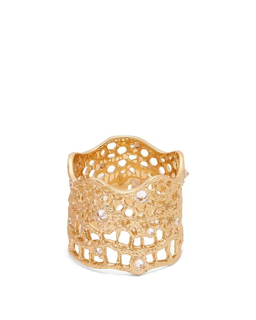 Aurelie Bidermann   Metallic Diamond, Aquamarine & Yellow-gold Ring   Lyst