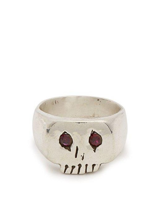 Aris Schwabe - Metallic Ruby Eyed Skull Sterling Silver Ring for Men - Lyst