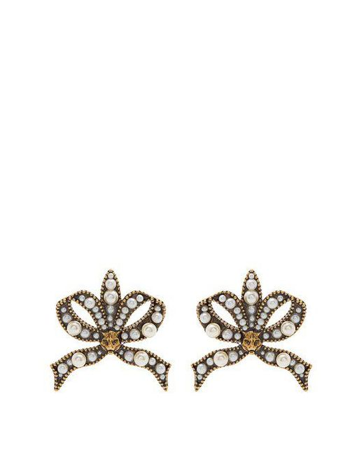 Gucci - Multicolor Faux-pearl And Feline-embellished Bow Earrings - Lyst
