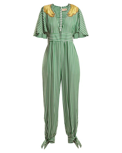 Adriana Degreas - Green Banana Appliqué Striped Jumpsuit - Lyst