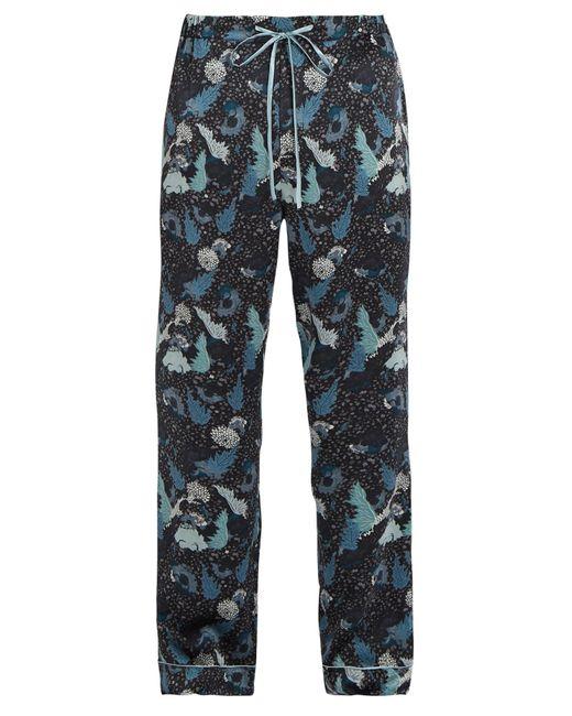 Meng | Blue Decorative Floral-print Silk-satin Pyjama Trousers for Men | Lyst