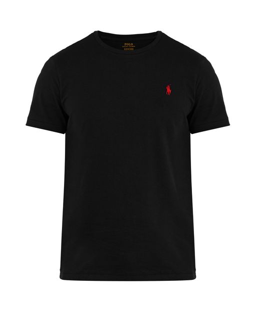 Polo Ralph Lauren | Black Logo-embroidery Cotton-jersey T-shirt for Men | Lyst