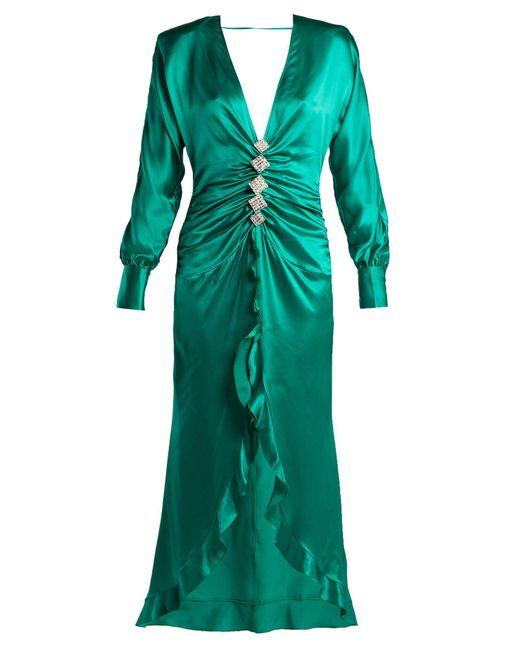 Alessandra Rich - Green Crystal Embellished Silk Satin Dress - Lyst