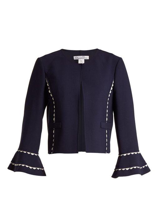 Oscar de la Renta - Blue Ric-rac Trimmed Wool-blend Crepe Jacket - Lyst