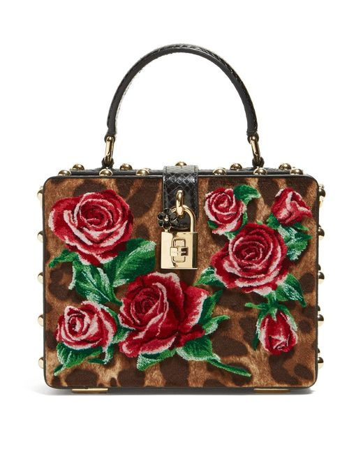 Dolce   Gabbana - Multicolor Leopard Print And Roses Velvet Box Bag - Lyst  ... 6a0d00118