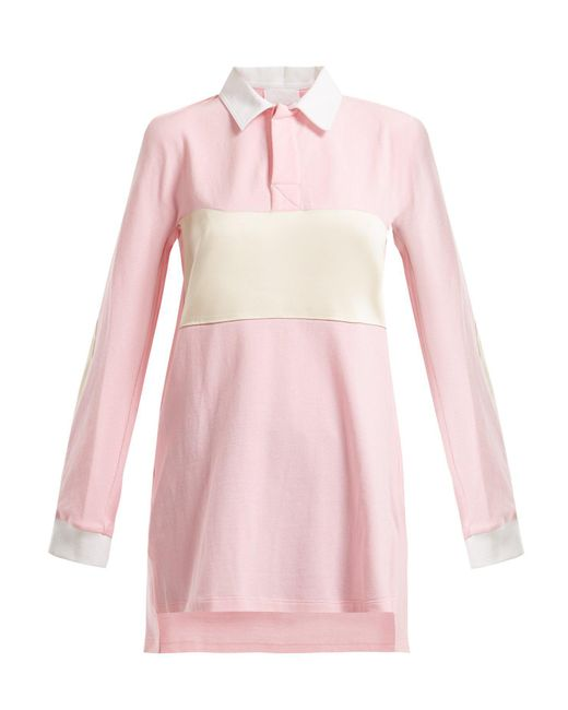 Koche Pink Satin Trimmed Oversized Cotton Shirt