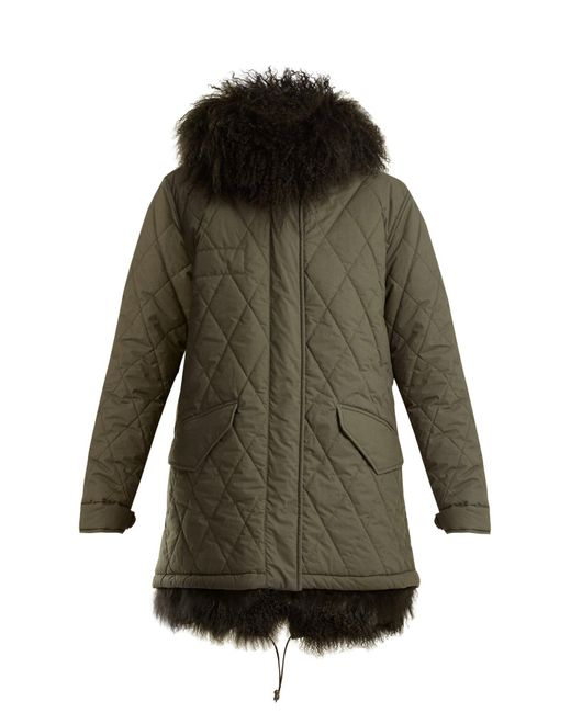 Mr & Mrs Italy - Green Shearling Lined Hooded Cotton Blend Coat - Lyst