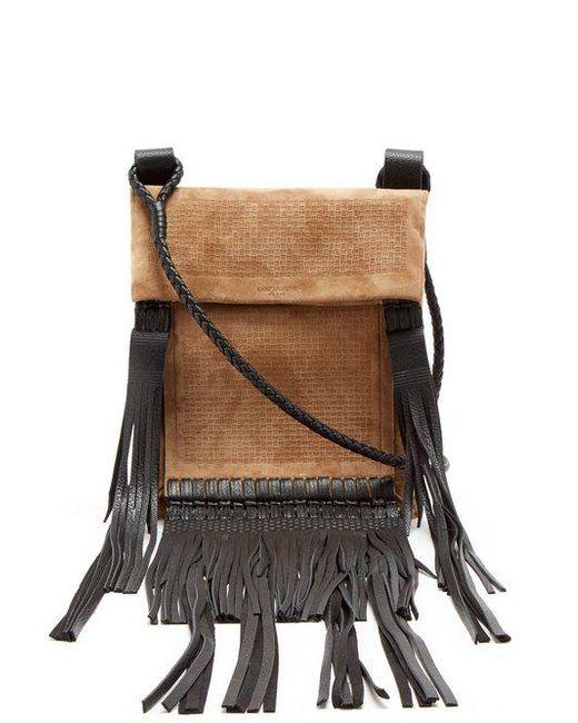 Saint Laurent - Multicolor Fringed-leather Suede Cross-body Bag - Lyst