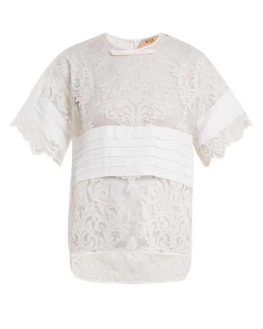 N°21 - White Crepe-panelled Lace T-shirt - Lyst