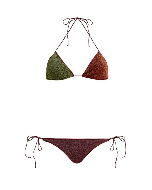 Oseree - Green Lumière Two Tone Metallic Triangle Bikini - Lyst