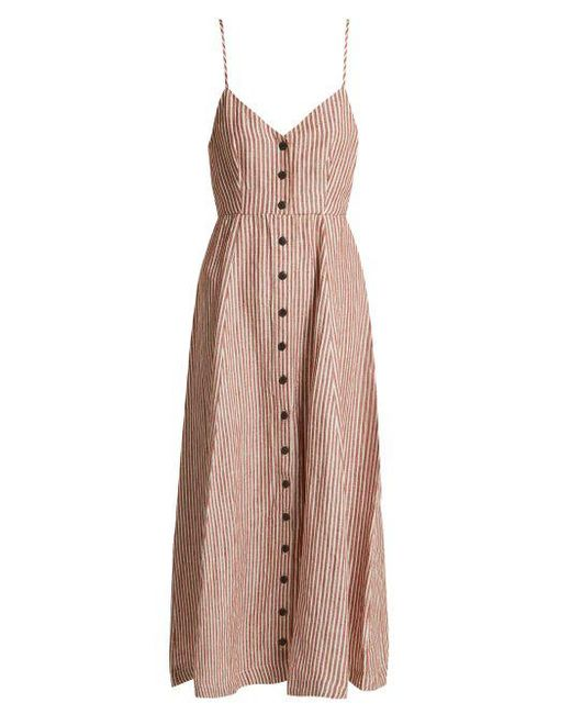 Mara Hoffman - Brown Morgan Striped Linen Midi Dress - Lyst
