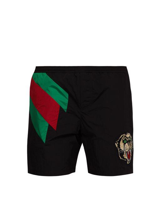Gucci - Black Short de bain à tête de tigre et bande Web for Men - Lyst