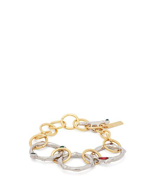 Marni - Metallic Crystal Embellished Chain Link Bracelet - Lyst