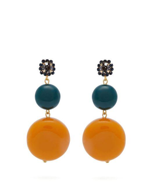 Marni - Orange Circle And Flower Drop Earrings - Lyst