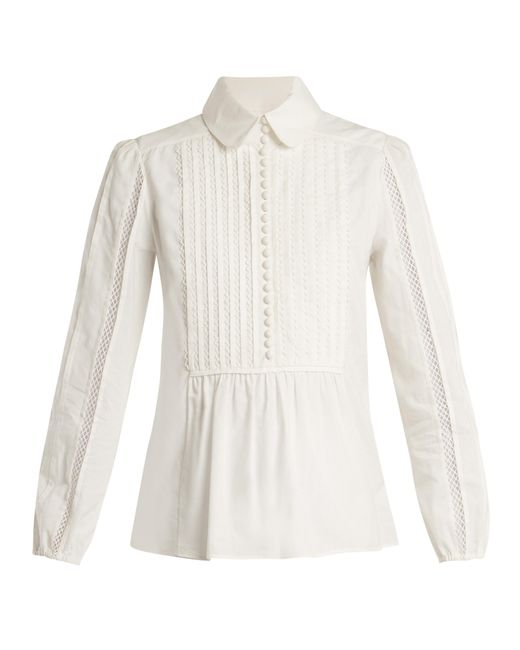 Chloé | White Lace-insert Pleated-bib Cotton Shirt | Lyst