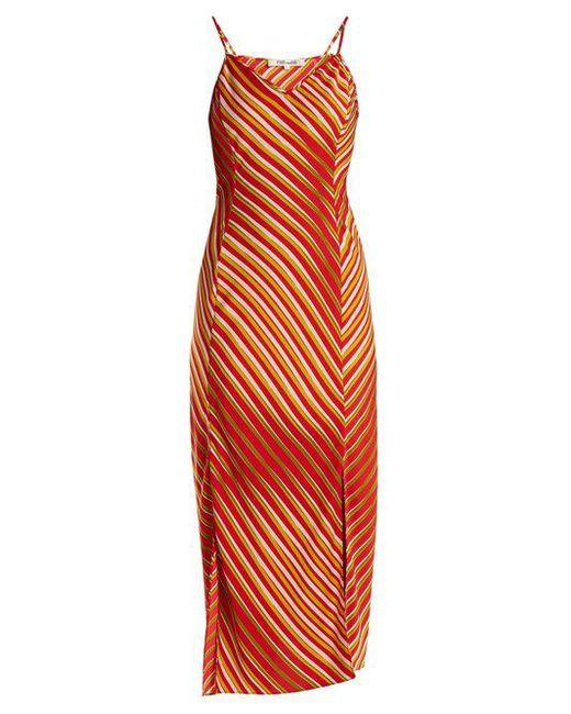 Whiston stripe-print bias silk-blend dress Diane Von F H4w3v
