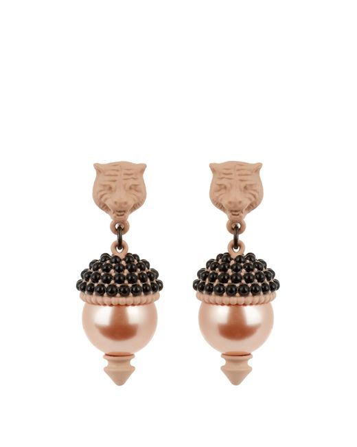Gucci | Pink Pearl-effect Embellished Tiger Earrings | Lyst
