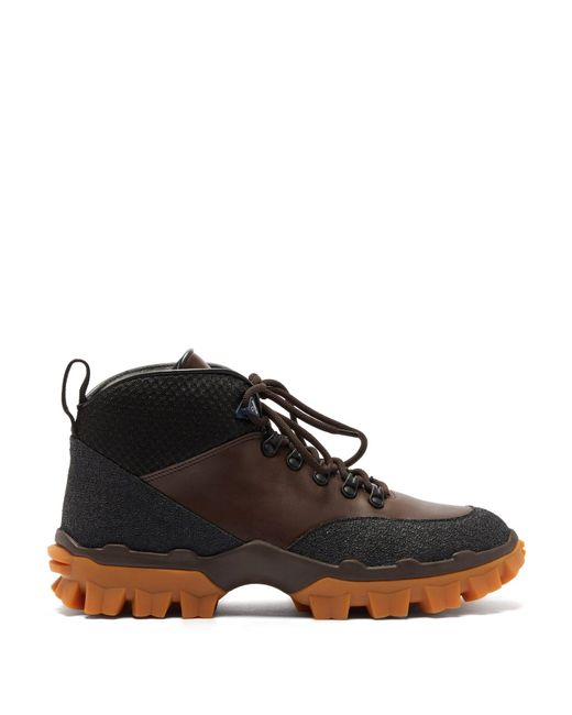 Moncler Brown Hektor Lace Up Leather Boots for men
