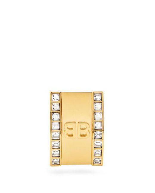 Balenciaga - Metallic Round Licence Crystal Earring - Lyst