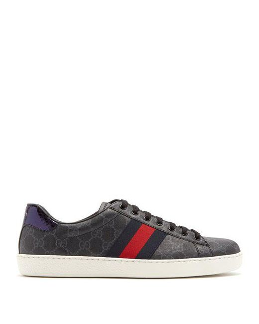 Gucci - Black New Ace Gg Supreme Canvas Low Top Trainers for Men - Lyst ...