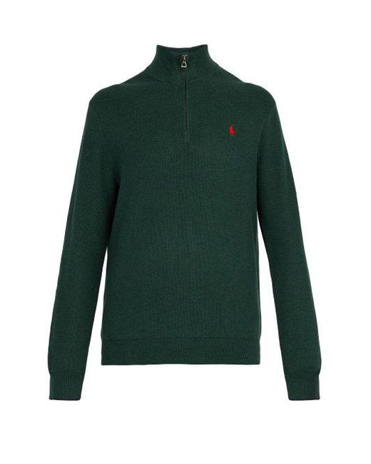 b9668aaa800ed Polo Ralph Lauren - Green Logo-embroidered Half-zip Cotton-piqué Sweater  for ...