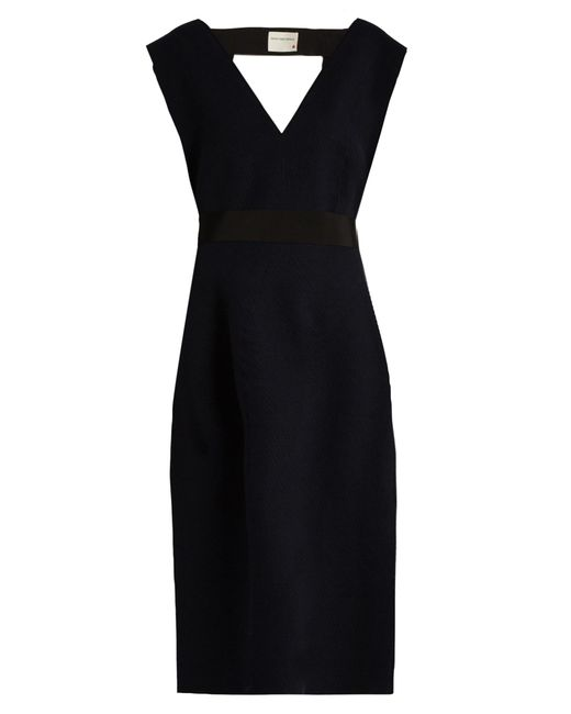 Maison Rabih Kayrouz | Blue V-neck Wool-felt Midi Dress | Lyst