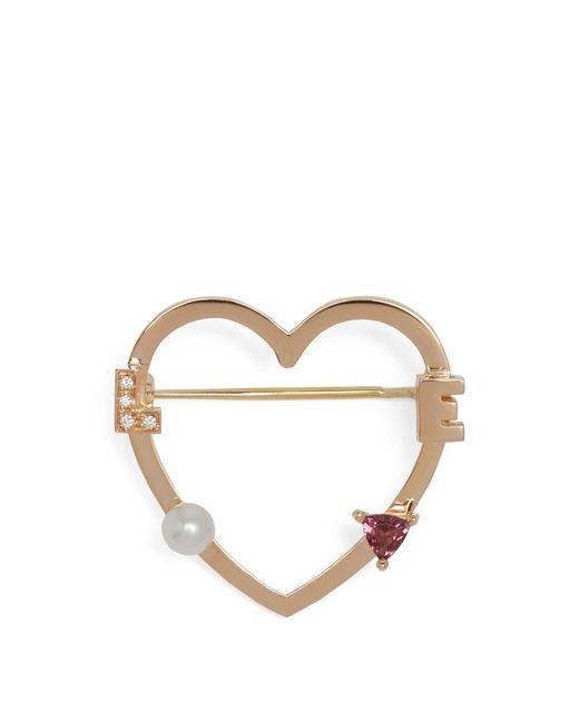 Delfina Delettrez | Metallic Diamond, Rhodolite, Pearl & Pink-gold Brooch | Lyst