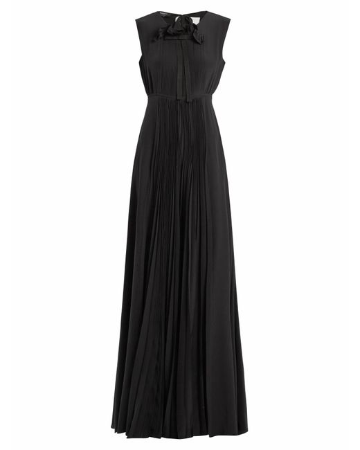 Rochas   Black Pleated-silk Gown   Lyst