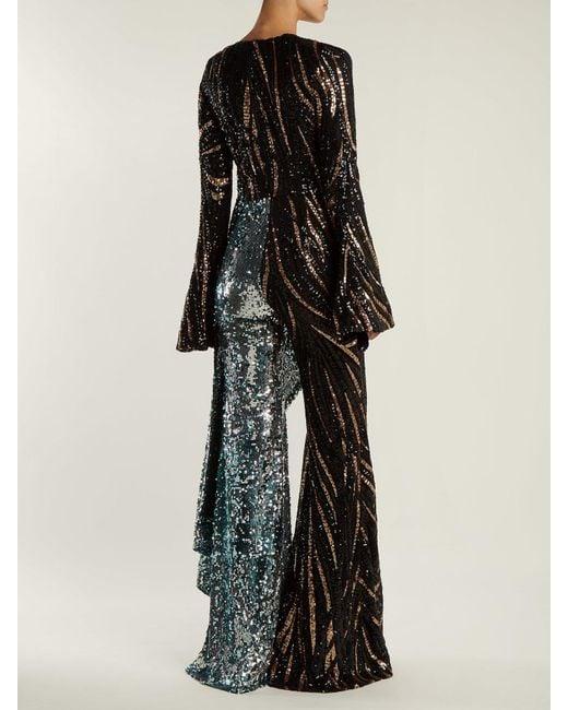 b7f0a33ddc9 Lyst - Halpern Sequin Embellished Wide Leg Jumpsuit in Black - Save 40%