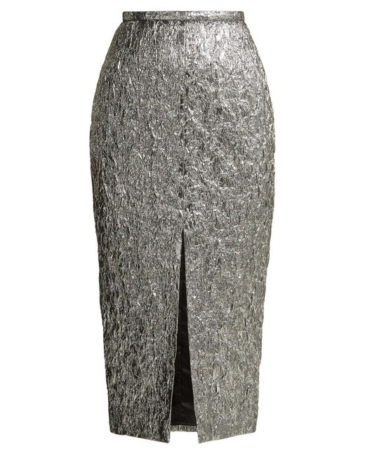 Rochas - Creased Metallic Pencil Skirt - Lyst