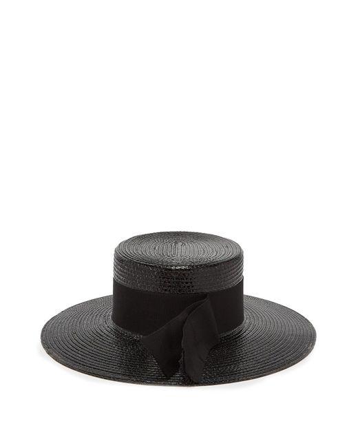 dd26c325cd0 Saint Laurent - Black Grosgrain Trim Straw Boater Hat - Lyst ...