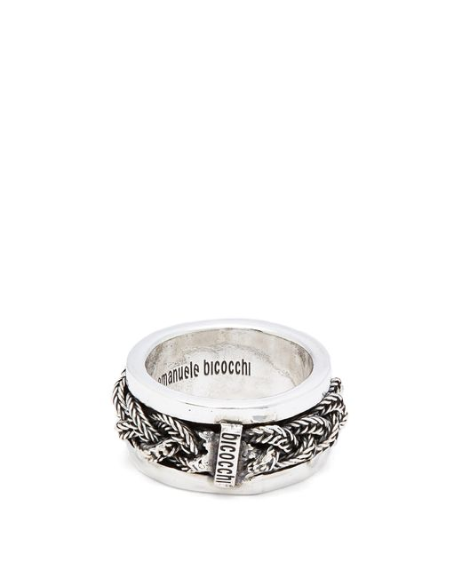 Emanuele Bicocchi - Metallic Braided Sterling-silver Ring for Men - Lyst
