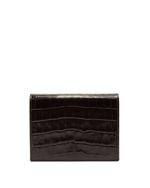 Smythson - Brown Mara Crocodile-effect Leather Bridge Card Case for Men - Lyst