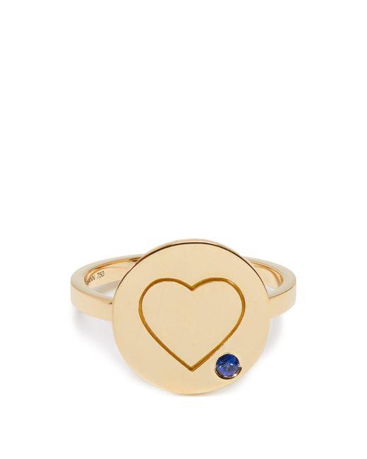 Aurelie Bidermann - Metallic Heart Sapphire & Yellow Gold Ring - Lyst