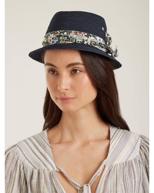 14f252455a69e Maison Michel Jac Straw Hat in Blue - Save 59% - Lyst