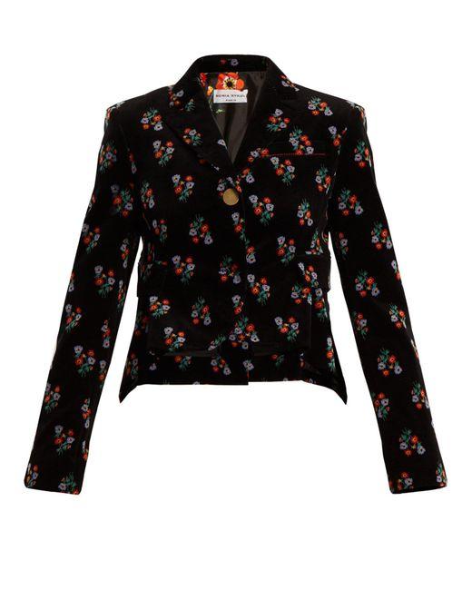 Sonia Rykiel - Black Floral Print Single Breasted Corduroy Jacket - Lyst