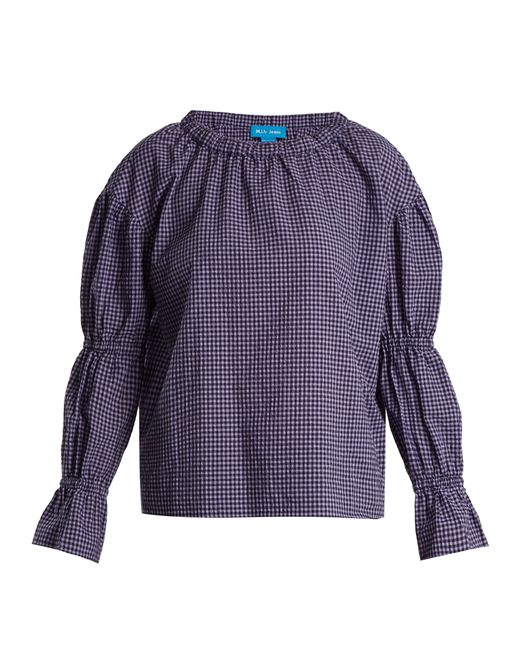 MiH Jeans - Purple Long Sleeved Gingham Cotton Blend Top - Lyst