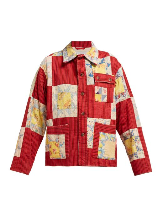 Bode Red Patchwork Single Breasted Cotton Jacket