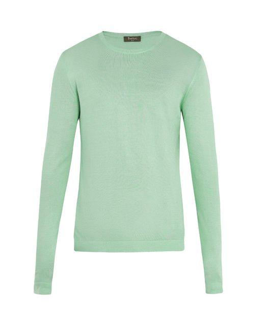Berluti - Green Crew-neck Silk-knit Sweater for Men - Lyst