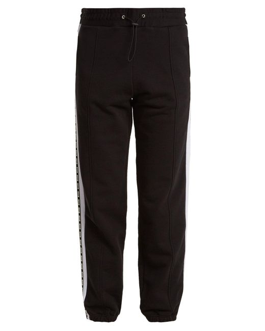 MSGM - Black Logo-print Cotton Track Pants - Lyst