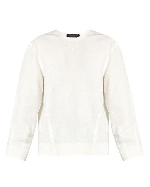 CALVIN KLEIN 205W39NYC - White Lotti Linen Herringbone Top - Lyst