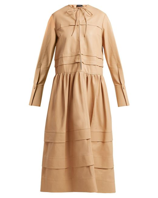 Joseph - Natural Odette Tiered Leather Dress - Lyst
